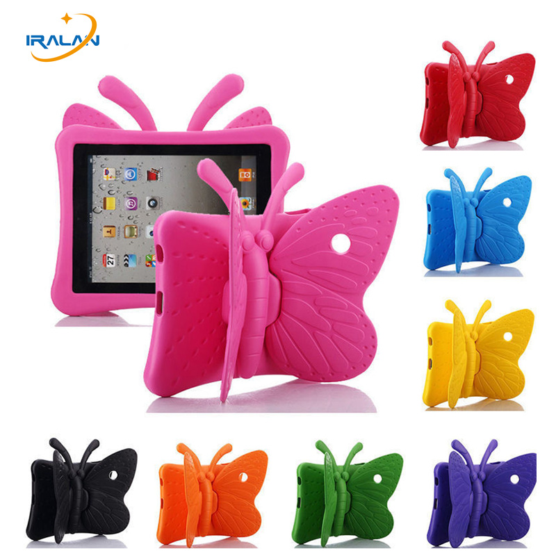 "Hot EVA Shockproof Case pentru iPad Mini 1 2 3 4 7.9 ""Cartoon Stand Butterfly Stand Tablet pentru iPad Mini3 Kids Safe Cazuri + Stylus"