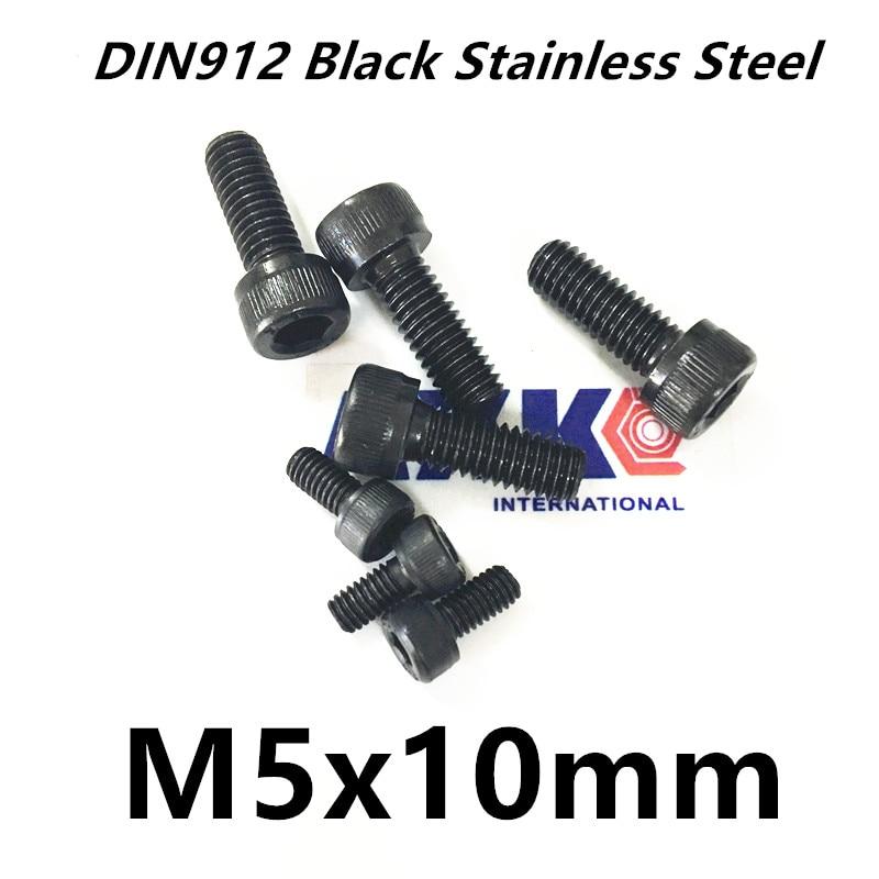 Free Shipping 50pcs/Lot Metric Thread DIN912 M5x10 mm M5*10 mm Black Grade 12.9 Alloy Steel Hex Socket Head Cap Screw Bolts 20pcs m3 6 m3 x 6mm aluminum anodized hex socket button head screw