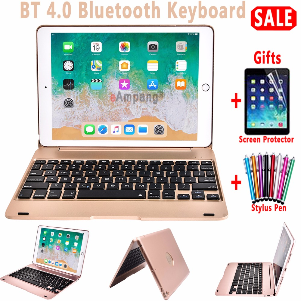 For iPad 9.7 2017 2018 Keyboard Case Cover for iPad Air 1 2 5 6 Pro 9.7 Bluetooth Keyboard PC Cover Funda + Screen Protector