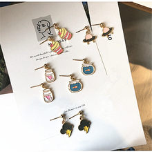 Super Cute kawaii Cartoon Stud Earring Lovely Horse Ice cream Cake Goldfish Earring Women Sweet Girls Lovely Party Jewelry Gifts(China)