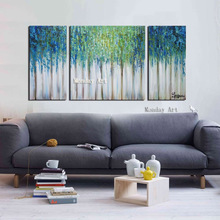 Modern Art 3 Panel Canvas Art Painting hand painted Green Blue Forest  Abstract Oil Paintings on Canvas Handmade Wall Art Decor