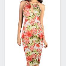 Frauen Sexy V-ausschnitt Schlinge Elegante Schulterfrei Blumendruck Knie Casual Party Club Abend Formale, Figurbetontes Kleid Kostenloser Versand