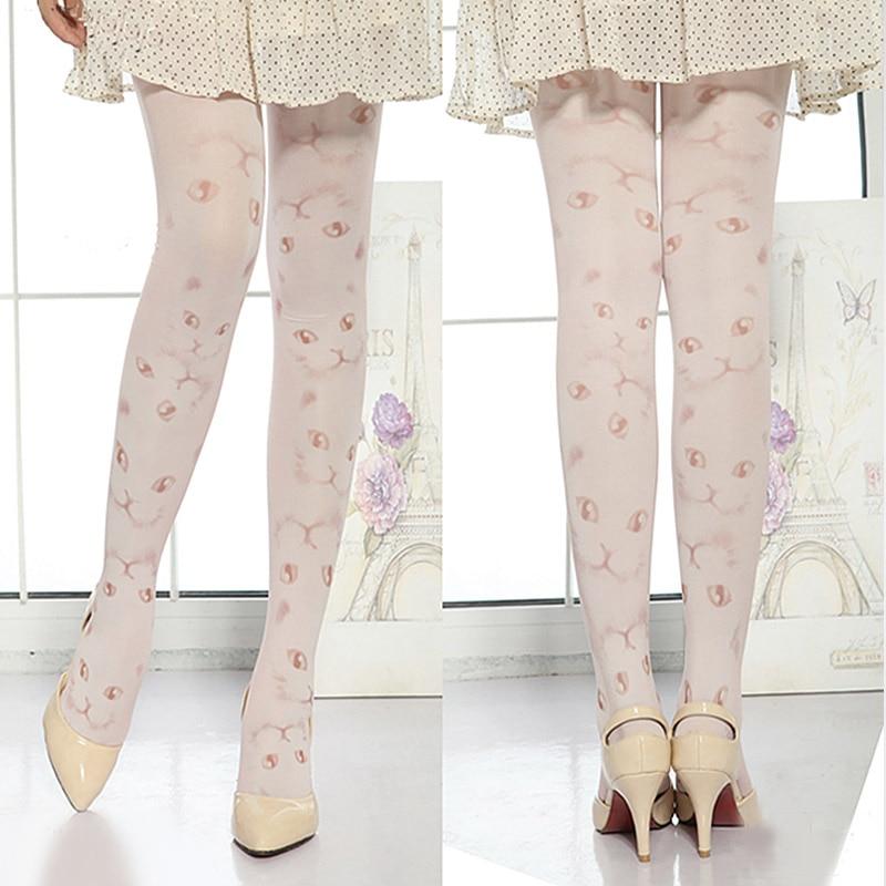 New Sexy Girls Pantyhose Design Pattern Printed Tattoo Stockings Cat shape Pantyhose Mock Stockings Tights