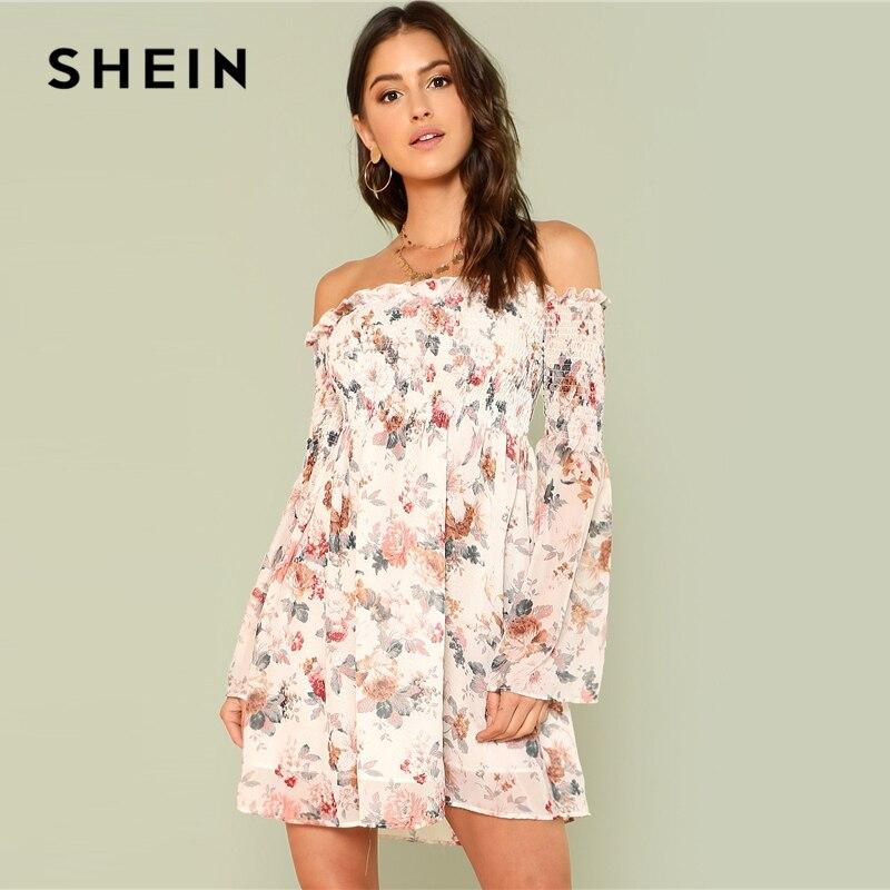 SHEIN trompeta manga Floral Smock vestido 2018 verano manga larga fuera del hombro vestido de mujer imprimir una línea Vestido de playa