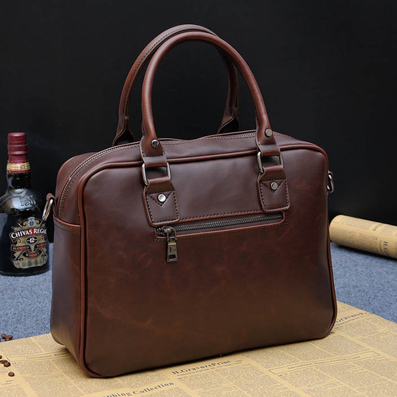 Business Men Briefcase Handbags Crazy Horse PU Leather Laptop Bag Casual Man Zipper Shoulder Bags Vintage Travel Bags For Men