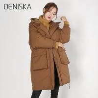 DENISKA 겨울 여성 다운 재킷 두꺼운 눈 중간 긴 파카 패션 높은 품질의 후드 큰 포켓 따뜻한 여성 코트