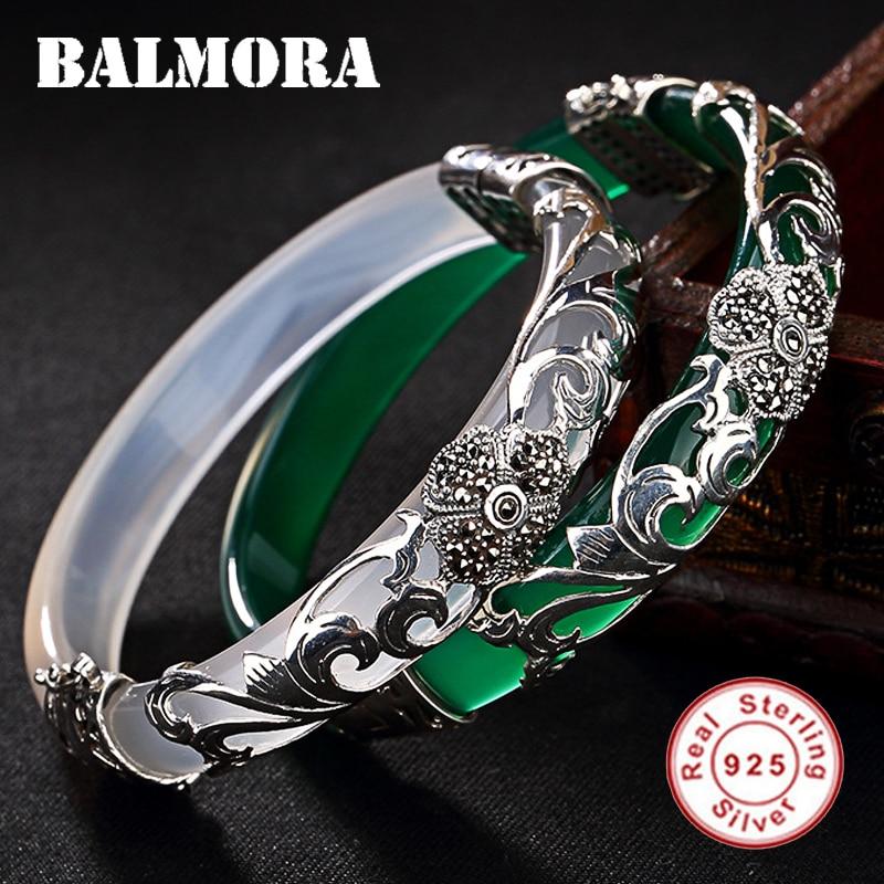 BALMORA 1 Piece Solid 925 Sterling Silver Chalcedony Flower Leaf Bracelet For Women Thai Silver Fashion