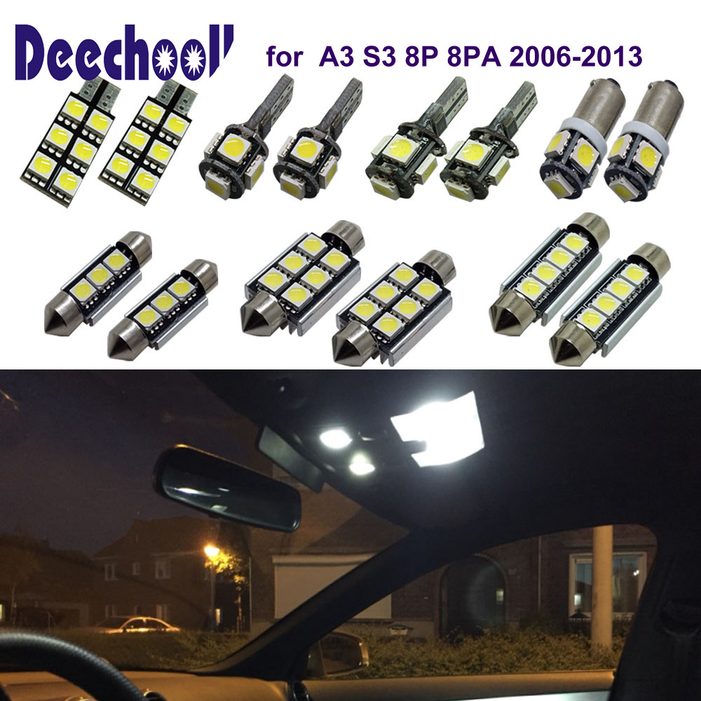 deechooll 18pcs Car LED Light for Audi A3 8P ,Canbus White Interior Lighting Bulb for Audi A3 S3 8P 06-13 Dome Reading Lights cawanerl car canbus led package kit 2835 smd white interior dome map cargo license plate light for audi tt tts 8j 2007 2012