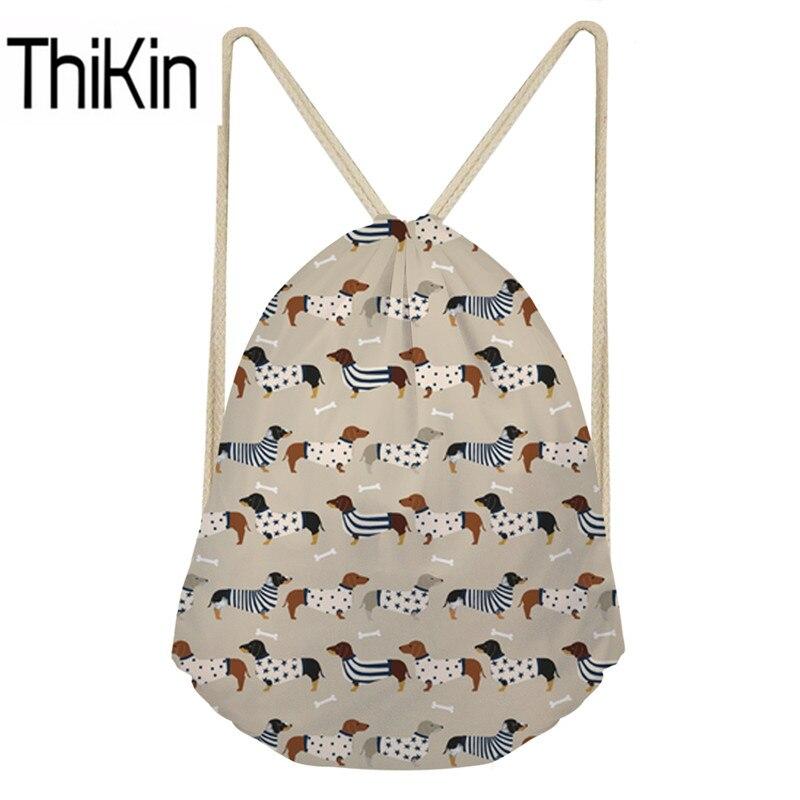 THIKIN Drawstring Bags Women Doxie Dachshund Printing Lightweight String Backpacks Teenagers Drawstring Shoulder Bagpack Bolsa