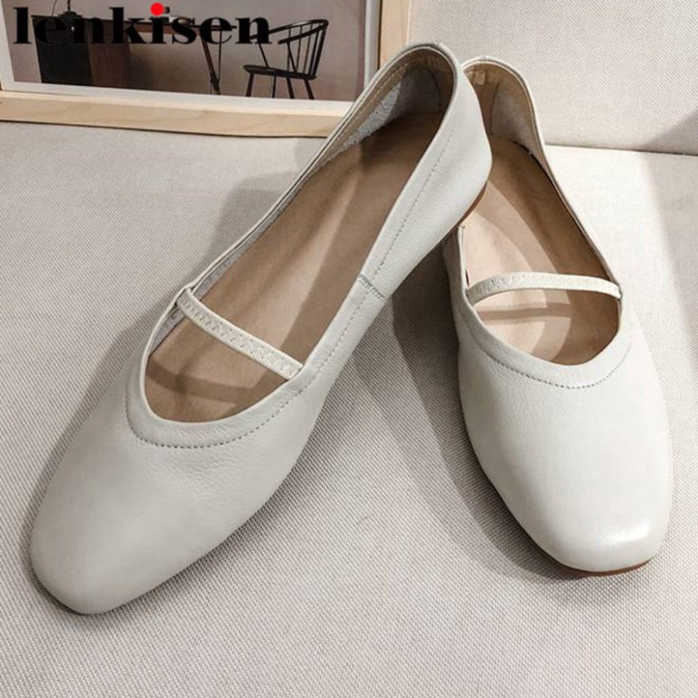 Lenkisen comfortable soft natural leather high quality slip on concise streetwear ballet shoes young girls square