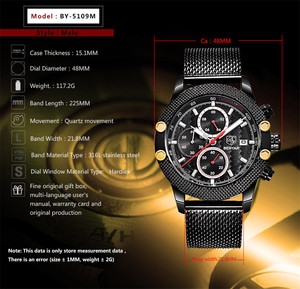 Image 4 - BENYAR Sport Chronograph Fashion Watches Men Mesh & Rubber Band Waterproof Luxury Brand Quartz Watch Gold Saat dropshipping