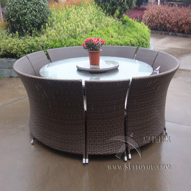 7 pcs Outdoor Rattan Garden Dining Sets , All Weather Waterproof Sofa set transport by sea