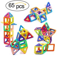 65pcs Big Size Magnetic Blocks Designer DIY Building & Construction Toy Magnetic Tiles Square Triangle Educational Toys For Kids