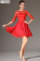 New Red Lace Bodice Half Sleeves Party Dress Cocktail Dress Freeshipping