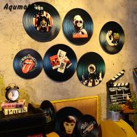 Aqumotic Wood Vinyl Record Wall Sticker Record Decorations Model Europe Star US Star Wall Decor For Bar Coffee House Rock Color