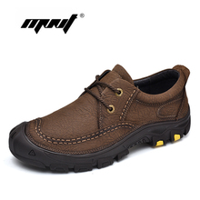 Купить с кэшбэком Genuine Leather Shoes Men Top Quality Casual Shoes Male Outdoor Flats High Quality Lace-Up Men Shoes