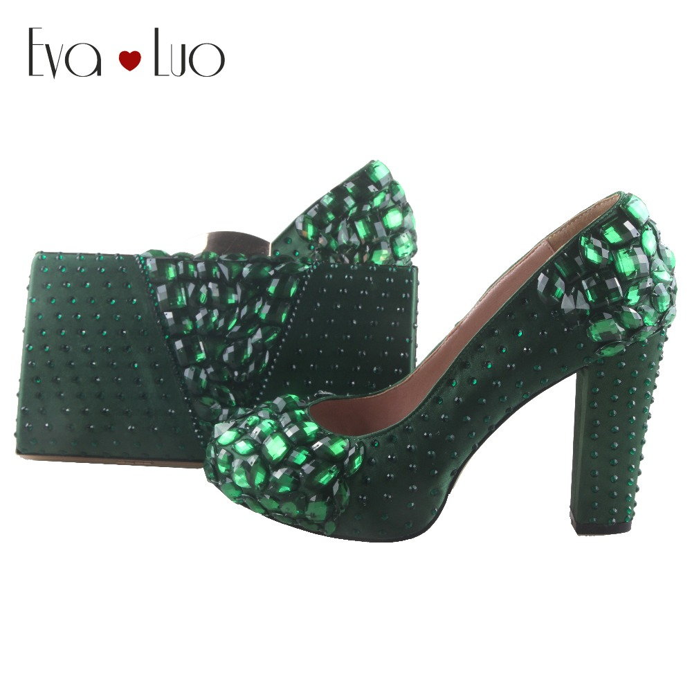 BS880 DHL Custom Made Forest Green Crystal Shoes And Bag Set Block Heel Women Shoes Dress