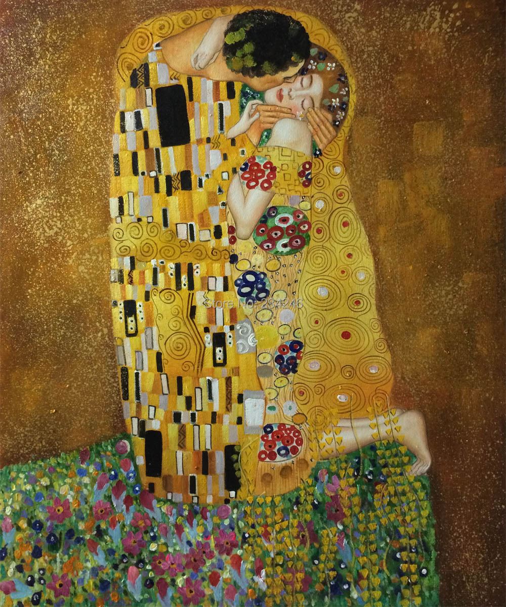 Buy decorative canvas painting abstract wall arts the kiss by gustav klimt oil Home decor survivor 6