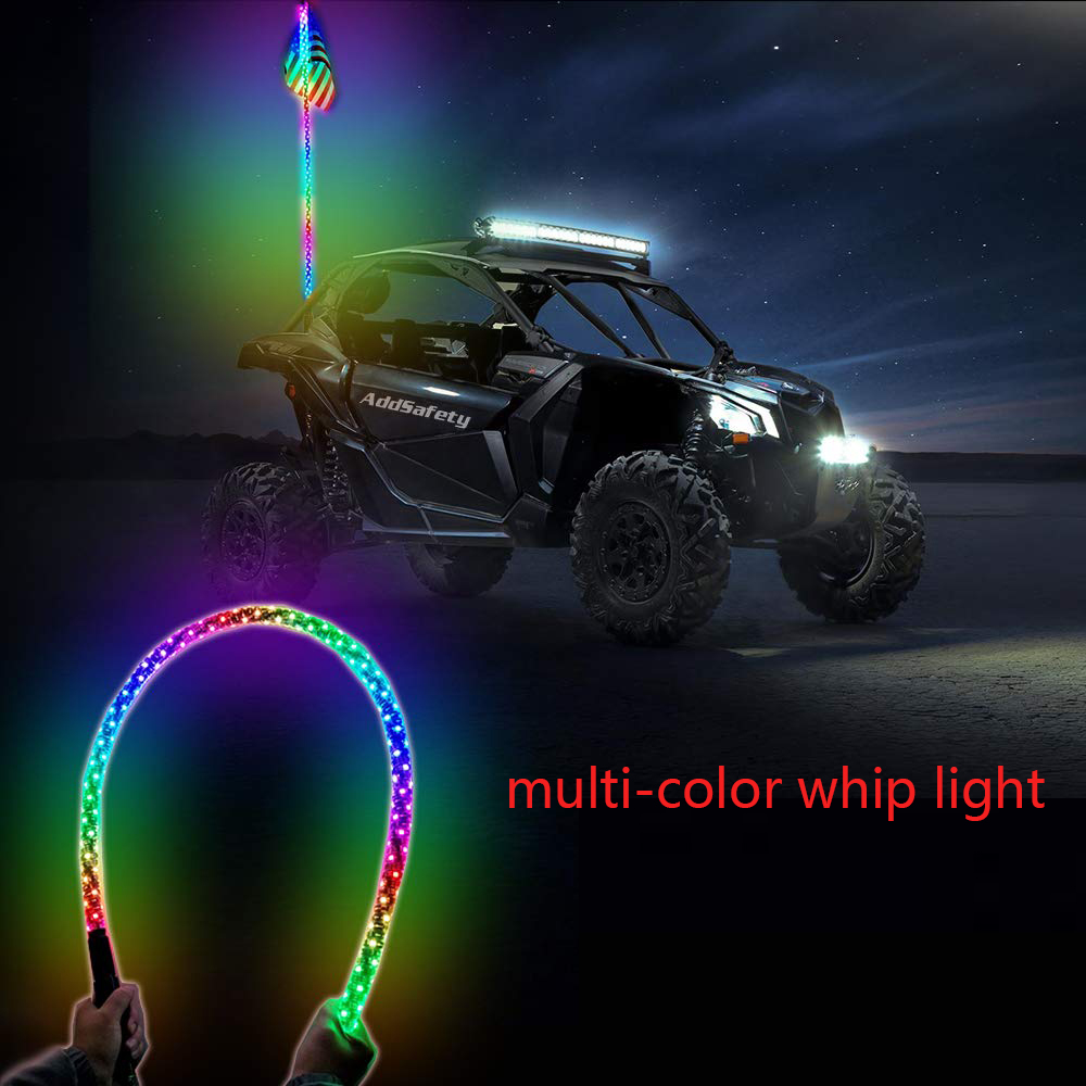 Dual Synced 5FT LED Whip Light w//Flag 30 Modes RGB Color Wireless for UTV RZR ATV