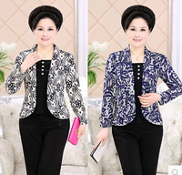 Spring 2016 middle aged women slim coat print False Sets loose plus size women casual long sleeved short jacket Blazers AE217