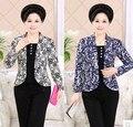 Spring 2016 middle-aged women slim coat print False Sets loose plus size women casual long-sleeved short jacket Blazers AE217