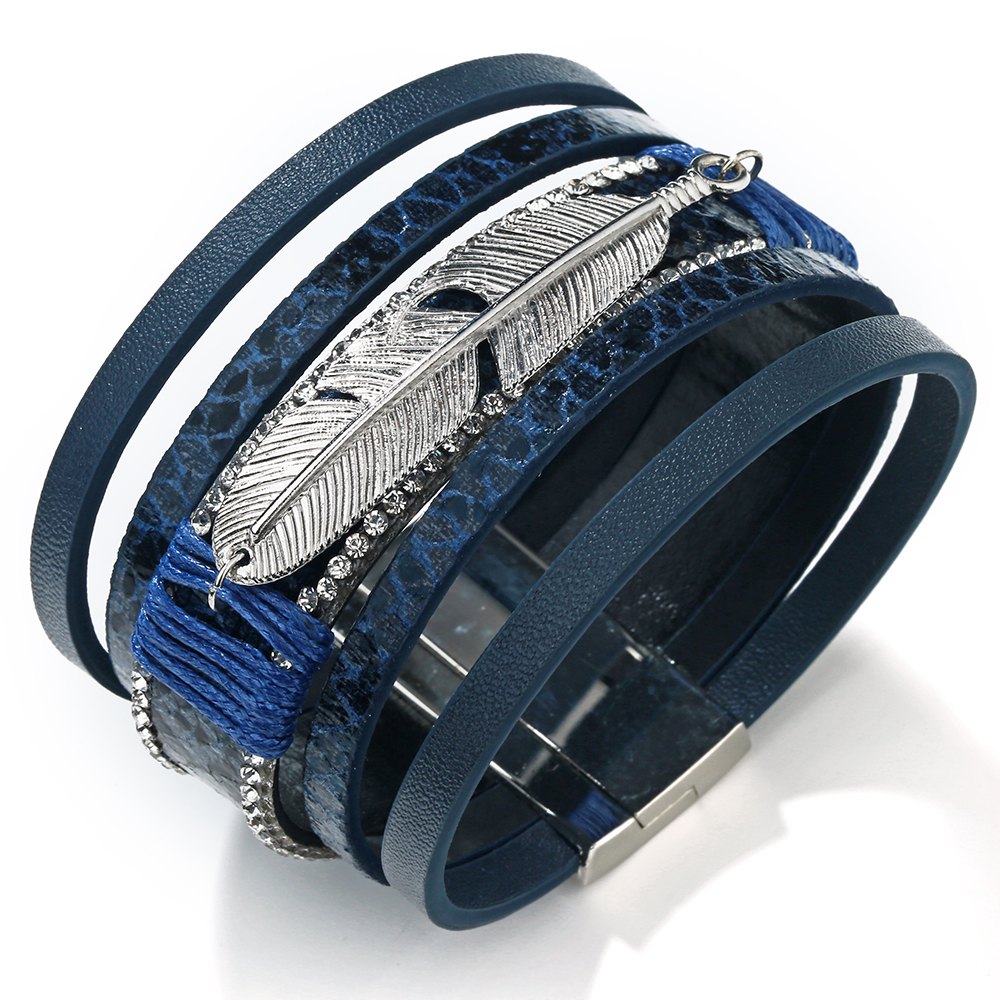 17 Fashion Alloy Feather Leaf Wide Magnetic Leather Bracelets & Bangles Multilayer Wrap Bracelets for Women Men Jewelry 16