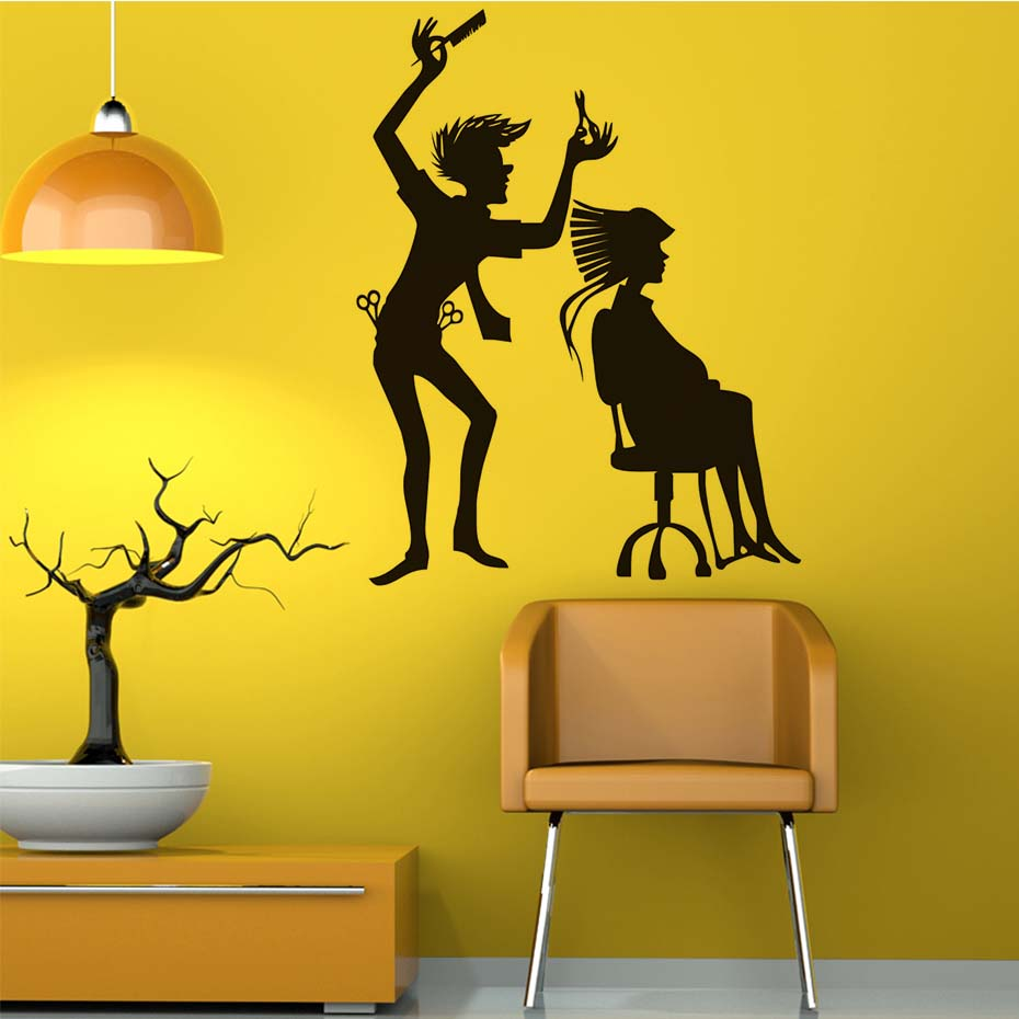 Hairstylist With His Client Vinyl Wall Stickers Hair Salon Shop Art ...