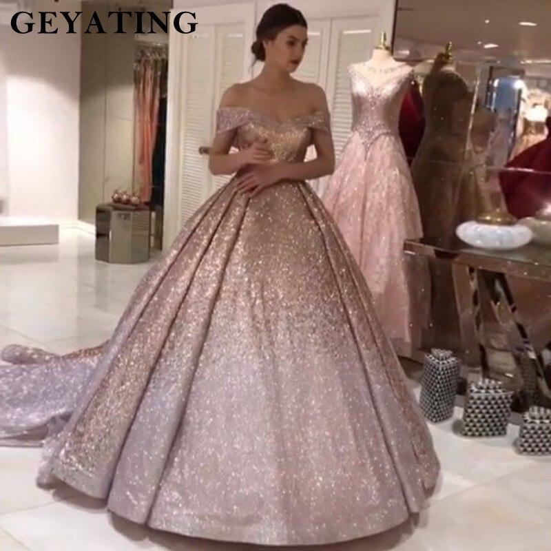 Brillant Ombre Champagne argent Sequin robes de bal 2019 dubaï paillettes robe de bal robe de soirée chérie Court Train robes de soirée