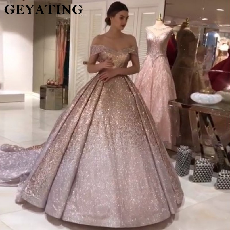 Sparkly Ombre Champagne Silver Sequin Prom Dresses 2019 Dubai Glitter Ball Gown Party Dress Sweetheart Court Train Evening Gowns