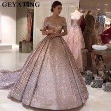 Sparkly Ombre şampanya gümüş pullu balo kıyafetleri 2020 Dubai Glitter balo parti elbise sevgiliye mahkemesi tren abiye giyim