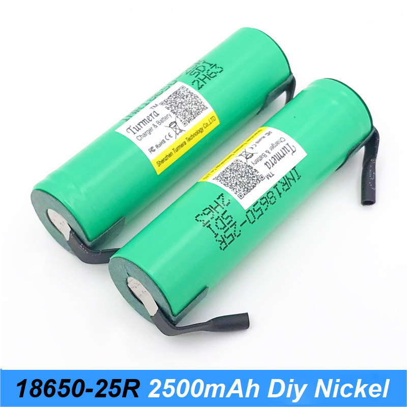 INR18650 25R with diy nickel 20a 2500mah lithium battery Turmera INR18650-25R 20amps for electronic cigarette /screwdriver 12v