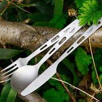 Juego de cuchillos de tenedor ligero Tiartisan 3 piezas, vajilla de exterior de titanio puro para acampar, Picnic, viajes, cubiertos Ta8106