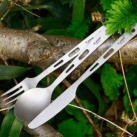 Tiartisan 3 шт. легкая Ложка Вилка Набор ножей чистый титан уличная посуда для кемпинга пикника путешествия столовые приборы Ta8106
