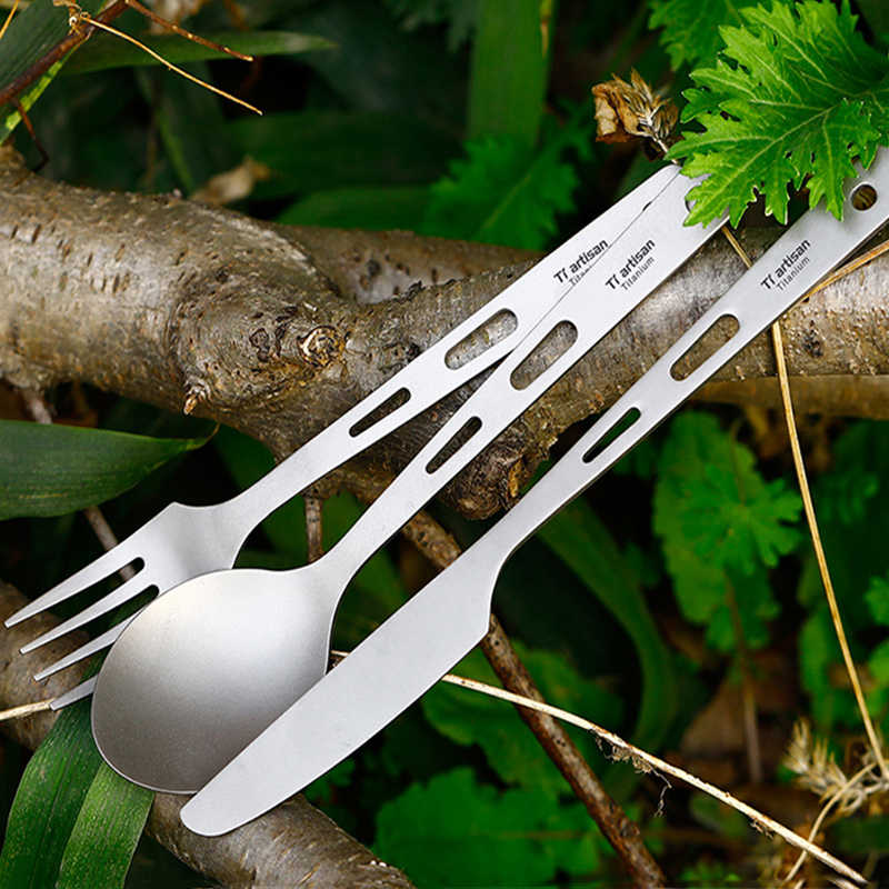 Tiartisan 3 個軽量スプーンフォークナイフセット純チタン屋外食器キャンプピクニック旅行食器 Ta8106