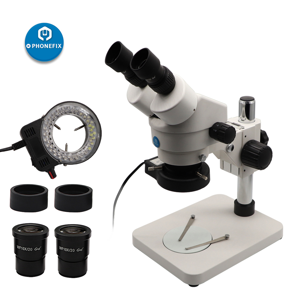 7X - 45X Binocular Stereo Microscope Stereo Zoom Continuous Zoom Magnification Microscope Phone Motherboard PCB Soldering Repair