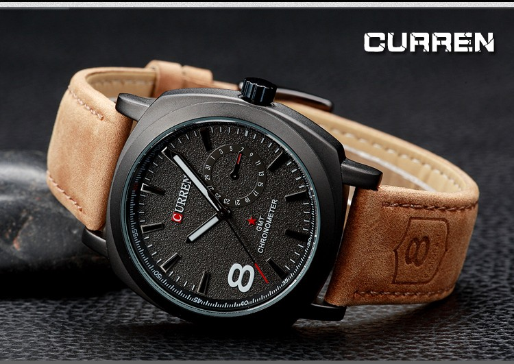 CURREN Original Brand Men Watch Luxury Leather Strap Quartz Watch Waterproof Clock 8139 18