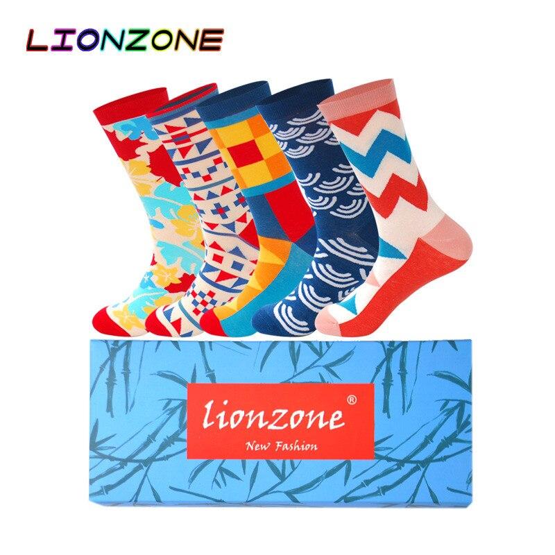 LIONZONE 5Pairs/Lot Men Socks Large Edition Creative Socks Version Pure Fashion Joker Man Cotton Happy Funny Socks Colorful Men