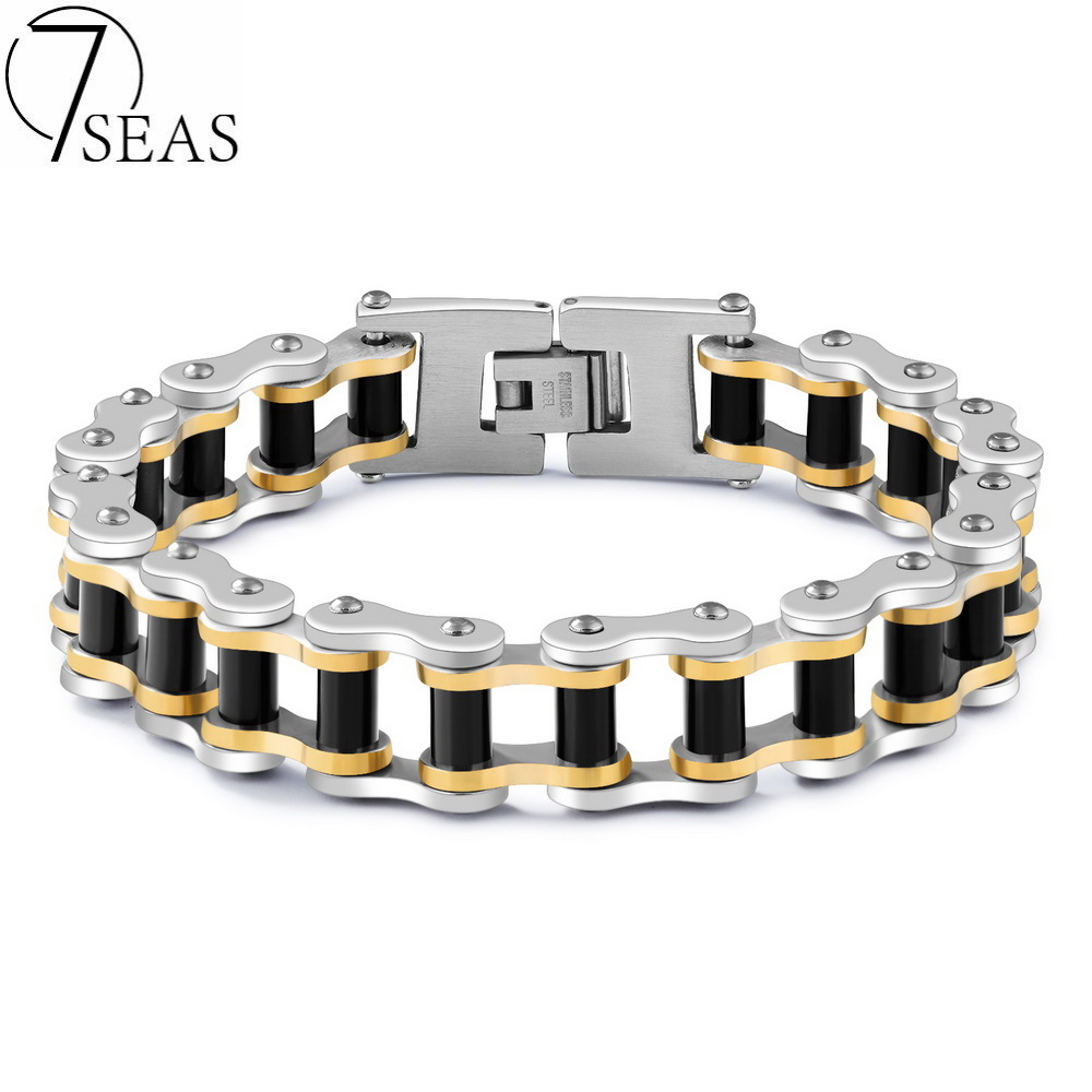 7SEAS Hot Sale Mans Sport Wristband Bracelet Bangle Black Gos