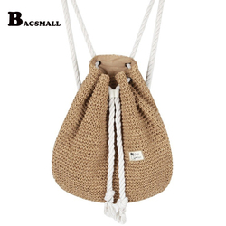 Bagsmall 2017 new fashion drawstring crochet straw beach bags summer women double shoulder bags floral pattern.jpg 250x250