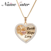 Faith Hope Love Real 925 Sterling Silver Pendant Necklaces Around Clear Zircons Best Friend Gift