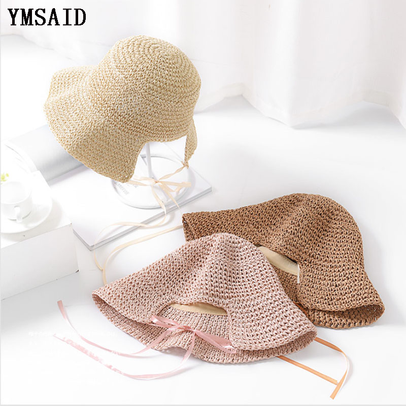 Ymsaid 2018 Newly Arrived Summer Retro Handmade Crochet Straw Hat Female Folding Sun Protection Cap Girl Beach Sun Hat Femme
