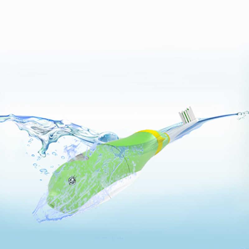 فرشاة أسنان كهربائية للأطفال مع موسيقى إنجليزية + رأسين للاستبدال احترافيين للأطفال للعناية بالفم والأسنان 22000/دقيقة