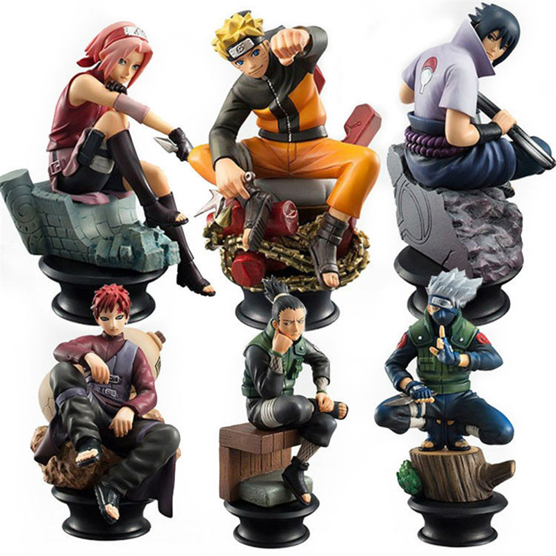 Model Figurines 6pc/s Naruto Action Figures Models Dolls 10cm Chess PVC Anime Naruto Sasuke Gaara Decoration Collect Toys Child