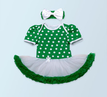 2PCs per Set Newborn Infant Girl Clothes Green Patrick's Day Baby Girls Tutu Dress with Flower Bowtie Headband for 0-24Months