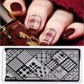1 Unid Clásico Rectángulo Rejilla Estilo Estampación Placa Chequeado Diseño Nacido Pretty Nail Art Plantilla Stamping Nail Plate Sello L010