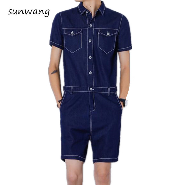 4a9392b406 2019 New Fashion Harajuku Skinny Mens Jeans Shorts Overalls Jean Jumpsuits  For Men Black Male Denim