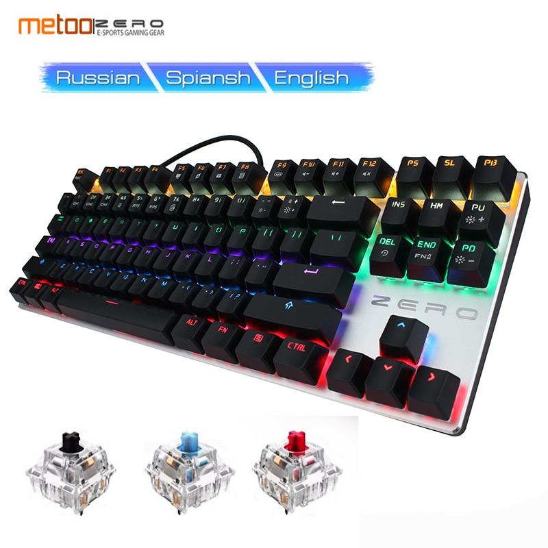 METOO ZERO Russian Gaming Mechanical Keyboard Original 104 87 key Backlit Key Cap Game Design Black Red Blue Switch for dota2 цена
