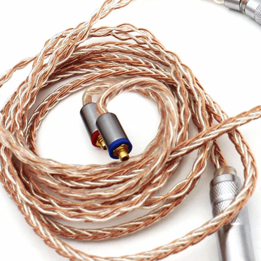 Livraison gratuite Haldane bricolage 8 Core écouteurs mise à niveau câble pour SE215 SE846 SE535 UE900 MMCX Audio mise à niveau argent plaqué câble - 2