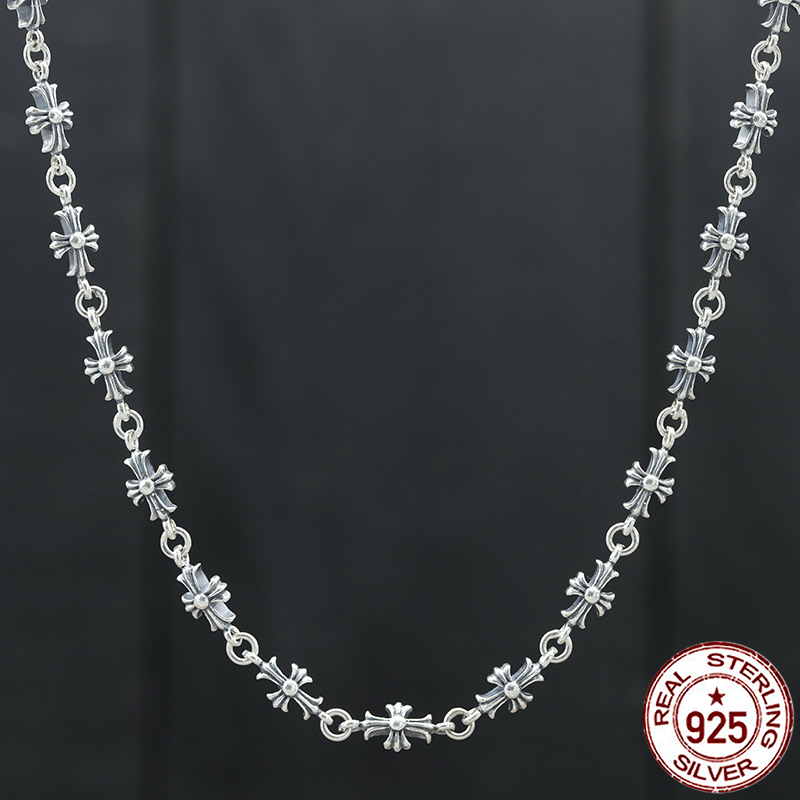 100% S925 sterling silver men's necklace personality fashion classic style punk hip hop style simple cross sweater chain 2018 tardoo punk style classic silver chain necklace for women