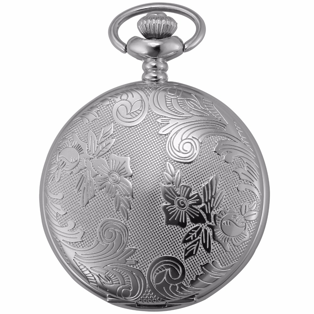 Silver Round White Full Hunter Case Nurse Clock Crown Jewelry Relogio Chain Fobs Pendant Quartz Movement Pocket Watches /WPK210 unique smooth case pocket watch mechanical automatic watches with pendant chain necklace men women gift relogio de bolso